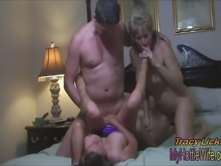 Two, big titted, hot MILFs in a sexy threesome!! He fucks us both good and...