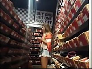Blonde girl hot ass in store spycam