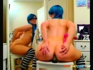 Blue haired girl anal dildo
