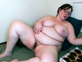 Huge Fatty Stuffs with Donuts then Plays With Bulging Belly POV Ride