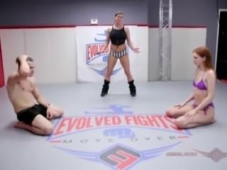 Maya Kendrick mixed wrestling fuck session on the mat