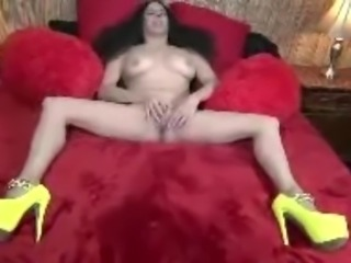 Dirty Talking Brunette Step Mom in Stripper Heels Playing Wih Her Pussy