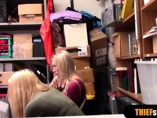 A hot teen and a slutty MILF shoplifter gets punished