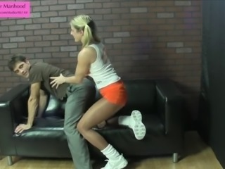 Hooters Girl Fucks Sissy's Ass with Strapon