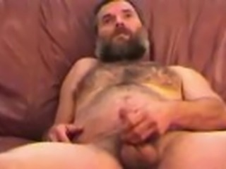 Amateur Mature Man Tim Jacks Off and Cums