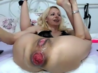 Milk enema duo close up and gaping after some toy action