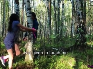 Wife Suck and Hard Doggy Sex Outdoor in the Wood - Bondage Sex