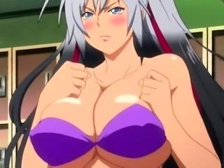 Big breasted hentai babe cumming hard on a throbbing pole
