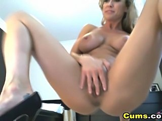 Stay tune and watch this horny blonde slut fuck herself with a massive purple...