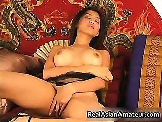 Big boobs asian stunner dildoing hairy
