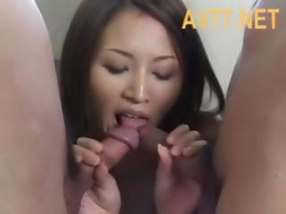 Nasty Japanese nurse with a set of nice tits fucks her patients