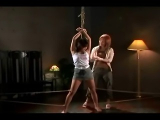 Tied lesbian Asians facial and rope shibari bondage