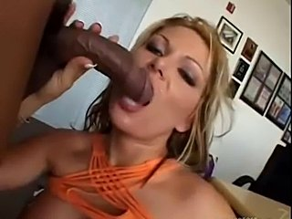 Tattooed blonde milf gets big black cannon up her ass hole