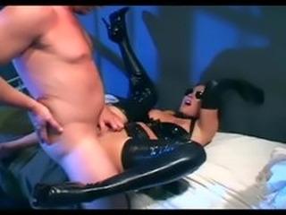 Brunette in uniform fucking in latex lingerie and gloves
