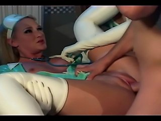 Hot blonde nurses in latex stockings and gloves in a ffm threesome