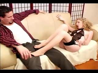 Foot fetish and footjob in sheer seamed stockings