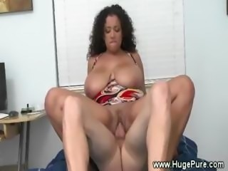 Natural big tits pussy fucks and tugs lucky cock