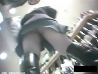 Sexy asian girl showing upskirt panties