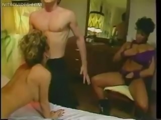 Classic babe Erica Boyer in vintage hardcore threesome action getting DP
