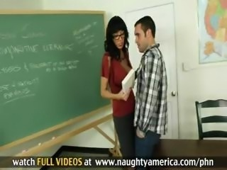 Brunette teacher Alia Janine gives her young student a fucking lesson