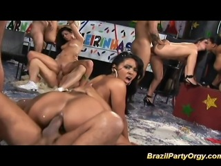 Brazil party orgy babes getting hard fucked and oral job