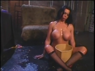 Asian mistress and her big tits slave playing around with fruits