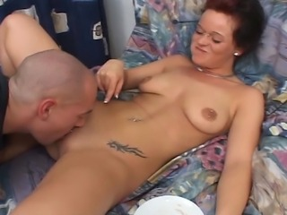Dirty young German girl experiencing hardcore sex with her boyfriend, he...