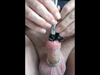 Urethra sound 15 then stuff hole with 16