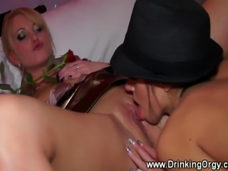 European pornstars sucking cock at party for lucky guy