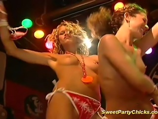 Sweet party chicks hard fucked and taking wet oral job