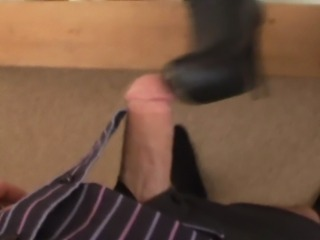 she really makes a show wit cum on boots on the end