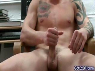 Amazing muscled and tattoed hunk wanking part6