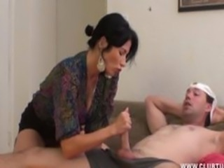 Hot Handjob Busty Mother