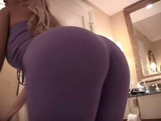 Blonde with beautiful round ass takes two