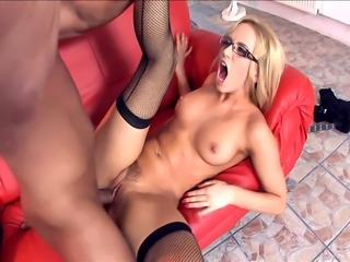 Female cop with glasses fucking in fishnet thigh high stockings and stilettos