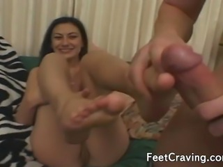 Stunning girls enjoy having sex after some hot foot fetish action