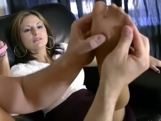 Slave On A Leash Licks Feet In Pantyhose