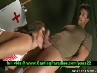 Madelyn Marie busty war doctor sucking sodier cock