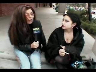 Schoolgirl Goth Midnite Enjoys Threesome