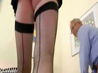 Hottest blonde babe sucking and fucking for this old guy
