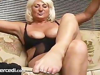 Mature Dana Hayes Smoking In Stockings