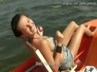 Czech girl flashes boobs and boat banged