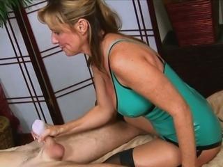 Guy gets a Handjob From Hot  Moms