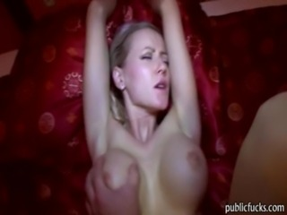 Big tits blonde flashed tits and nailed for instant cash free