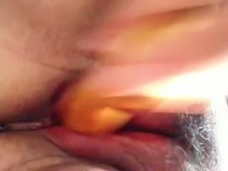 Nasty Hmong on pms fucking dildo