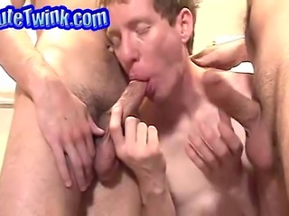 Filthy twinks shove their stiff dicks in their mouth.