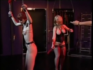 Cute brunette bound and enjoyed by Nina Hartley and Ernest
