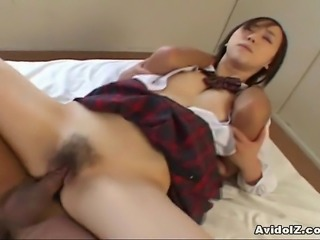 Cute Japanese coed rides her first cock here. She likes to feel a big hard...