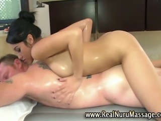 Sexy masseuse fetish babe sucking client cock in the bath