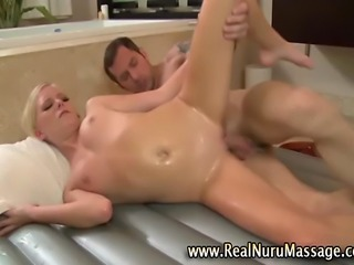 Sexy masseuse fetish babe fucks client ending in cumshot